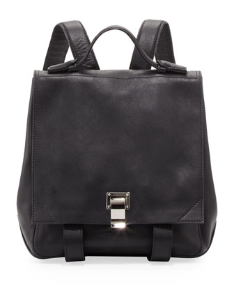 Medium Leather Backpack, Black