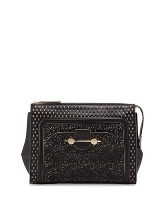 Daphne Laser-Cut Clutch Bag, Black
