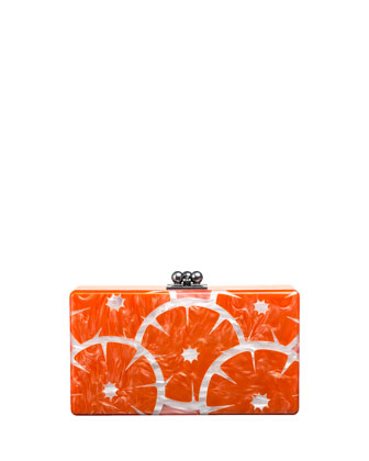 Jean Orange Slice Acrylic Clutch Bag