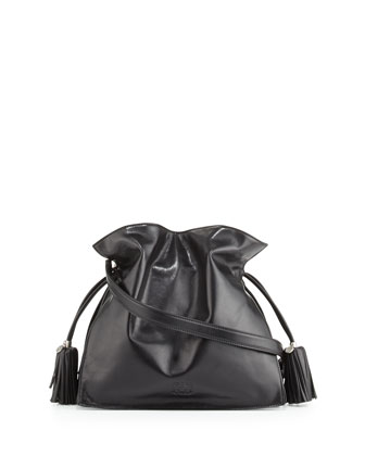 Flamenco 30 Polished Calfskin Drawstring Bag, Black