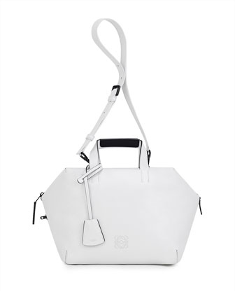 Origami Cubo Medium Satchel Bag, White