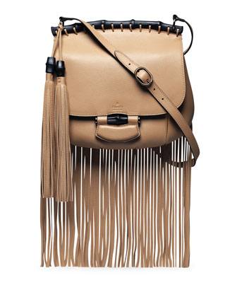 Nouveau Leather Fringe Shoulder Bag, Tan