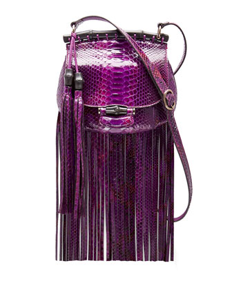 Nouveau Python Fringe Shoulder Bag, Purple