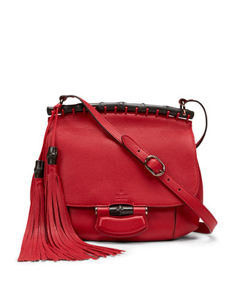 Nouveau Leather Shoulder Bag, Red