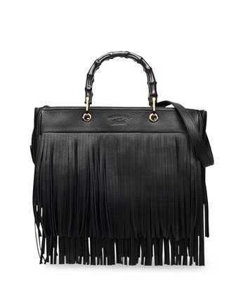 Bamboo Leather Fringe Shopper Tote Bag, Black