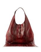 Nouveau Python Fringe Hobo Bag, Red