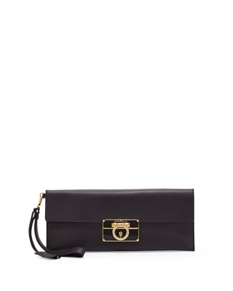 Afef Lock Story Wristlet Clutch Bag, Black