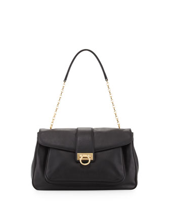 Paula Leather Shoulder Bag, Black