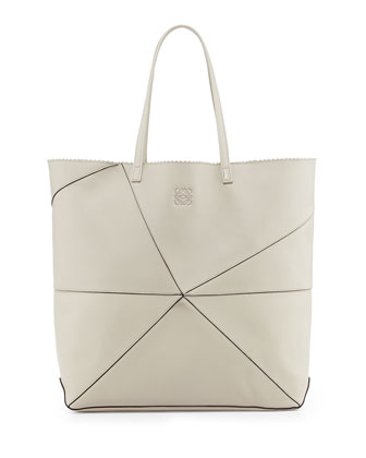 Lia Origami Leather Tote Bag, Light Sand
