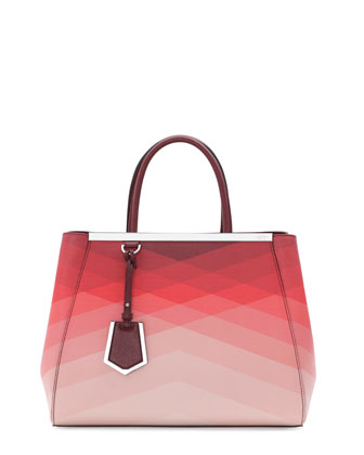2Jours Medium Tote Bag, Red Pattern