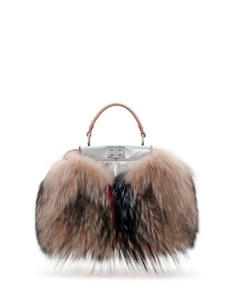 Peekaboo Mini Fur Satchel Bag, Brown Multi Color