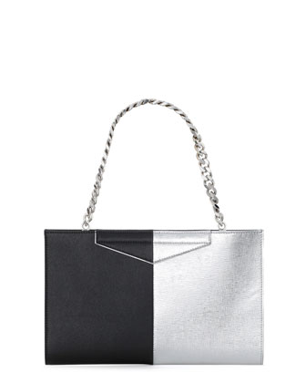 Grande Bicolor Clutch Bag, Black/Silver