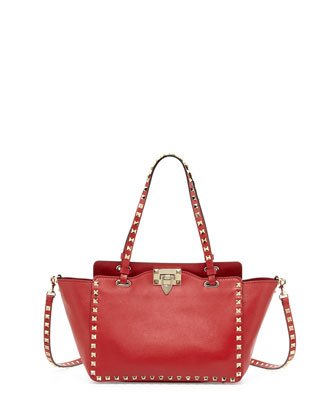 Rockstud Mini Tote Bag, Red