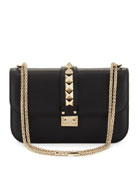 Rockstud Flap Shoulder Bag, Black