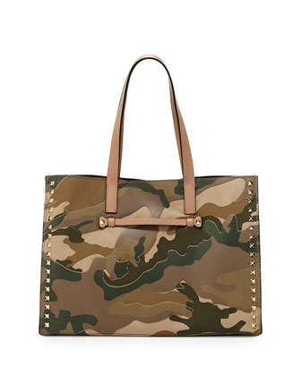 Rockstud Camo Shopping Tote Bag