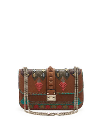 Embroidered Medium Lock Flap Bag, Tan