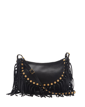 C-Rockee Studded Fringe Hobo Bag, Black