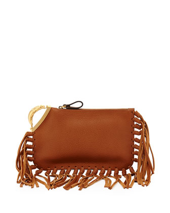 Scarab Finger-Clutch Bag, Tan