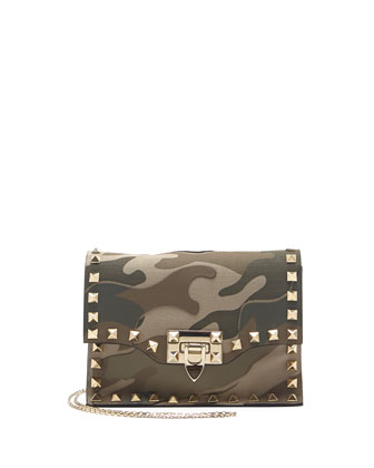 Rockstud Camo-Print Flap Crossbody Bag, Multi