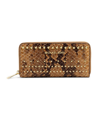 Jet Set Snake-Print Continental Wallet