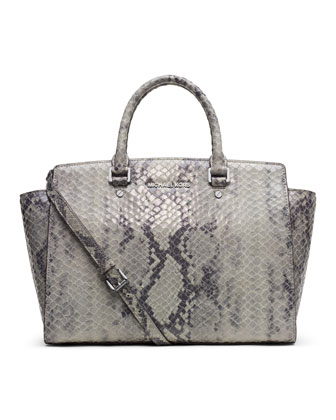 Large Selma Snake-Embossed Satchel
