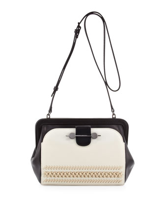 Two-Tone Whipstitch Crossbody Bag, Creme/Black