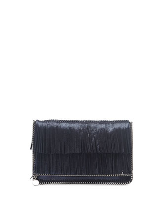 Falabella Fringe Fold-Over Clutch Bag, Metallic Blue