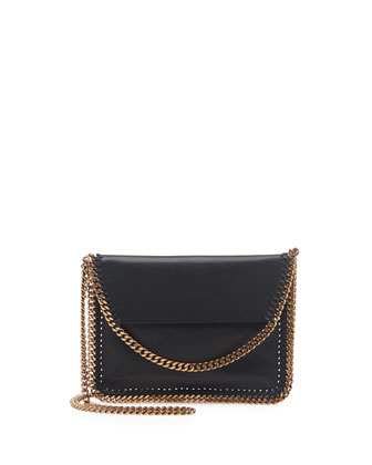 Falabella Mini Flap Crossbody Bag, Black