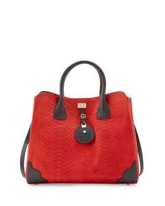 Python & Leather Tote Bag, Brick Red/Marble