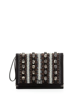 Beaded Flap Wristlet Clutch Bag, Creme/Black