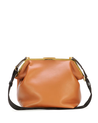 Framed Lambskin Shoulder Bag, Tan