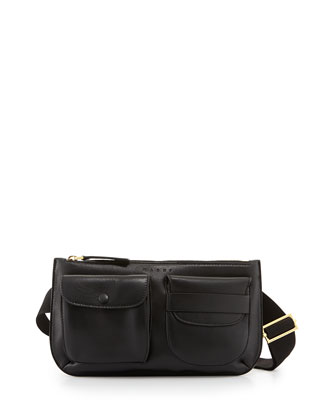Double-Pocket Leather Belt Bag, Black
