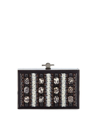 Karlie Watersnake Beaded Satin Box Clutch Bag