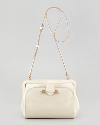 Daphne Leather Crossbody Bag, Ivory