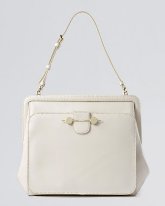 Daphne Leather Shoulder Bag, Ivory