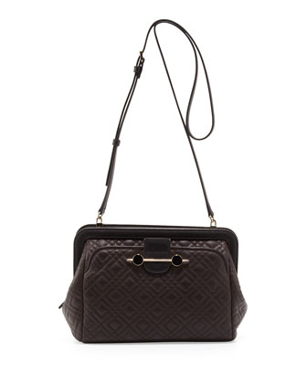 Quilted Leather Crossbody Bag, Brown