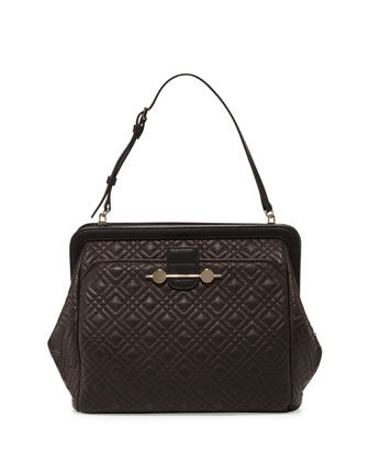 Quilted Leather Satchel Bag, Brown