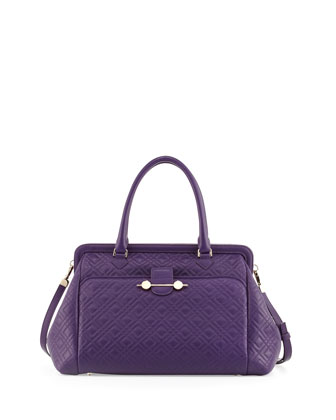 Oversized Quilted Frame Satchel Bag, Violet