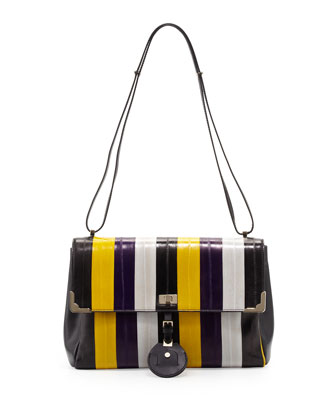Striped-Eel Shoulder Bag, Gold/Violet
