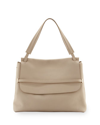 Grained Top-Handle Medium Satchel Bag, White