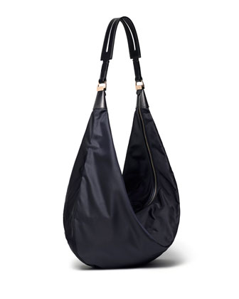 Nylon Sling Hobo Bag, Navy