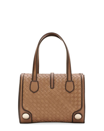 Double-Handle Woven Tote Bag, Brown/Black