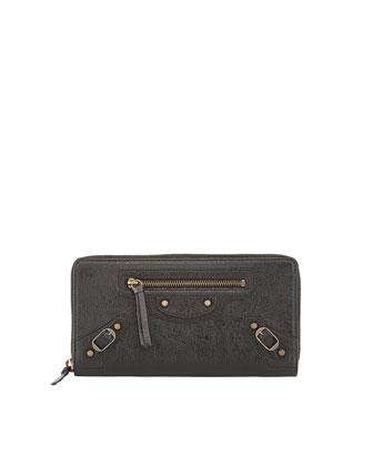 Classic Continental Zip Wallet, Black