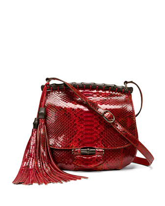 Nouveau Python Shoulder Bag, Red