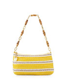 Bulu Bamboo Handle Clutch Bag, Yellow Mix