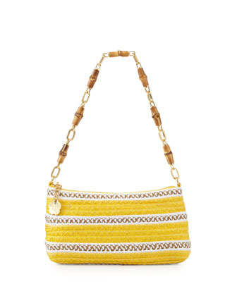 Bulu Bamboo Handle Clutch Bag, Yellow Mix