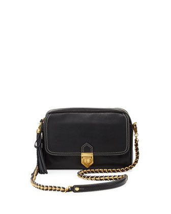 Zip Pouch Pebble Leather Flap/Crossbody Bag, Black