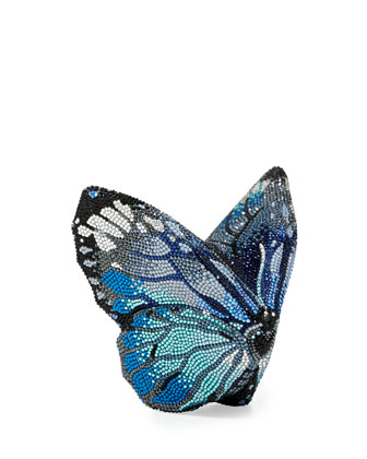 Mila New Butterfly Minaudiere, Silver/Aquamarine