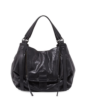 Jonnie Leather Hobo Bag, Black