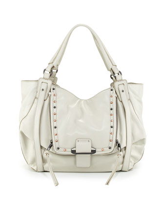 Jonnie Studded Leather Hobo Bag, White
